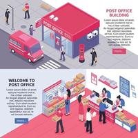 isometric post banners vector