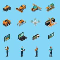 agriculture robot modern technology isometric icons vector