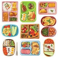 boxed lunch set vector