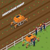 agriculture robot modern technology isometric composition