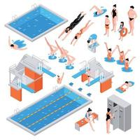 isometric swimming pool set