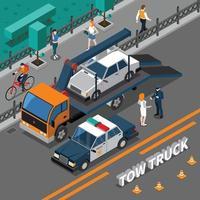 composición isométrica del vehículo camión vector