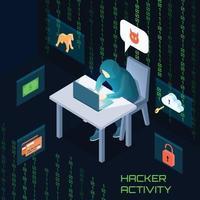isometric hacker illustration vector