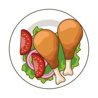 dish with delicious chicken thighs fast food icon vector