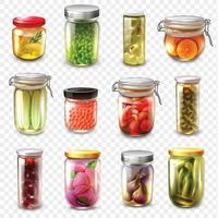 canned goods food set vector