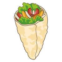 delicious burrito fast food icon vector