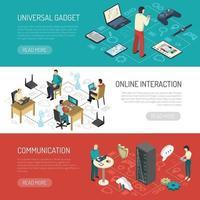 internet de las cosas banners horizontales vector