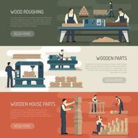 woodworking horizontal banners vector