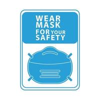 wear face mask for your safety blue square label vector