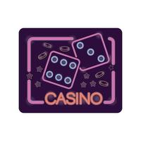 dice casino neon light label vector