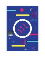 Fondo de estilo memphis de color azul con figuras y círculos vector