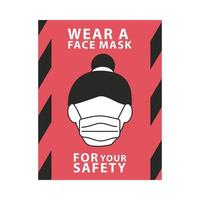 wear face mask for your safety red label vector