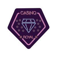 diamond casino royal neon light label vector
