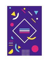 purple color memphis style background with diamond figure vector