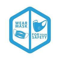wear face mask for your safety blue color label vector