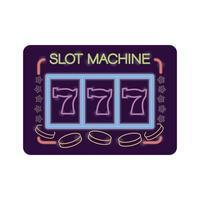 slot machine casino neon light label vector