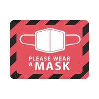 please wear mask red square label vector