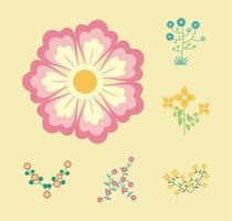 bundle of six flowers garden flat elements vector