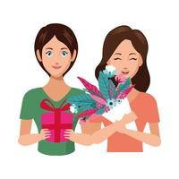 beautiful mothers with flowers and gift characters vector