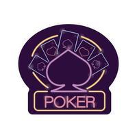 poker cards casino neon light label vector