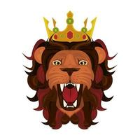 head of lion with crown vector