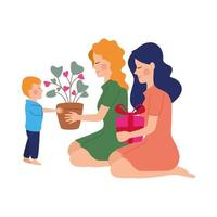 beautiful mothers with son and gifts vector