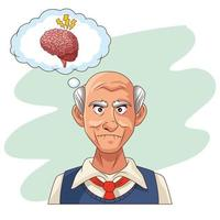 old man and Alzheimer's disease patient with brain problems vector