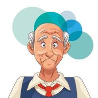 old man and Alzheimer's disease patient vector
