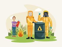 ambientalistas con personajes de protección de traje nuclear. vector