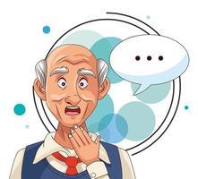 Anciano y paciente con enfermedad de Alzheimer con bocadillo vector