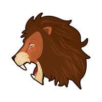 cabeza de león colorido en perfil vector