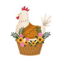 lindo pájaro gallina con flores en la cesta vector