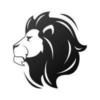 cabeza de león en monocromo de perfil vector
