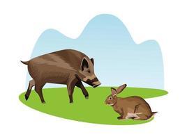 iconos de animales de cerdo y conejo salvaje
