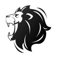 head of lion in profile, monochrome icon vector