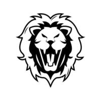 head of lion in front view monochrome vector