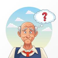 old man and Alzheimer's disease patient with question mark vector