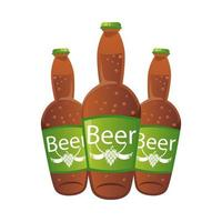 botellas de cerveza iconos aislados vector