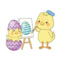 cute little chicks painting egg, easter characters vector