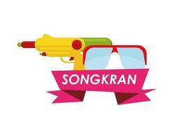 cinta del festival songkran con gafas y pistola de agua vector