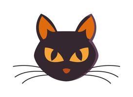 halloween cat black head icon vector