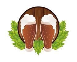 jarras de cerveza con marco de hojas vector