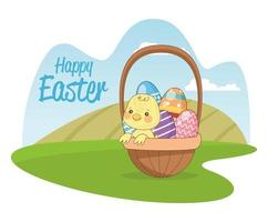happy easter seasonal card with little chick and eggs in basket vector