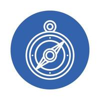 compass guide block style icon vector