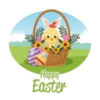 tarjeta de feliz pascua de temporada con pollito con orejas de conejo vector