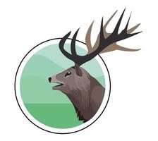 wild reindeer animal head nature icon vector