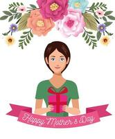 beautiful mother with gift box and flowers mothers day card vector