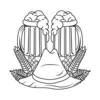 jarras de cervezas y sombrero tirolés vector