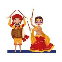dancing diwali woman and man with traditional clothes vector design
