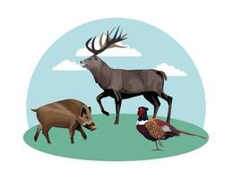 cerdo salvaje con pájaro faisán y reno vector